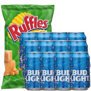 12 Pack Bud Light Lata + Ruffless Queso 120g