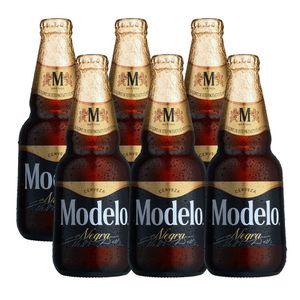 6 Pack Negra Modelo Botella Desechable 355ml